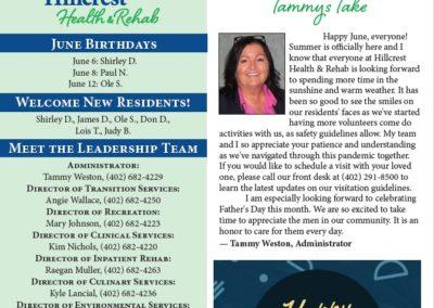 Hillcrest Health & Rehab Newsletters & Calendars