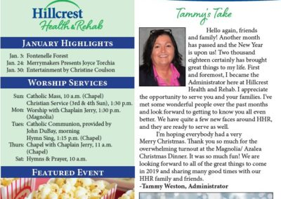 Hillcrest Health & Rehab Newsletters & Calendars