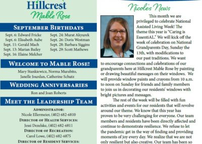 Hillcrest Mable Rose Newsletters & Calendars
