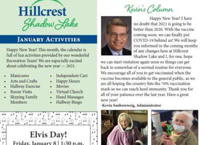 Hillcrest Shadow Lake Newsletters & Calendars
