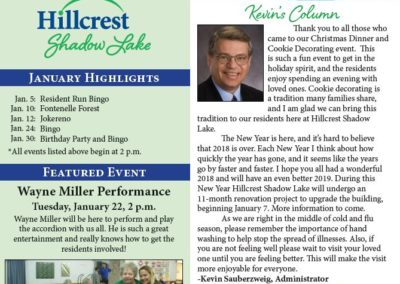 Hillcrest Shadow Lake Newsletters & Calendars