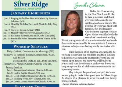 Silver Ridge Newsletters & Calendars