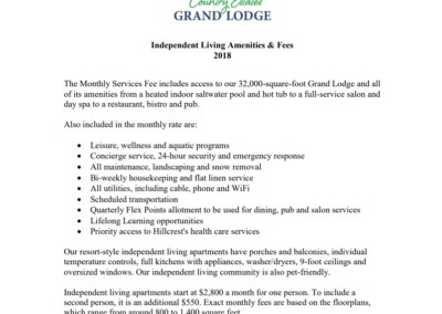 Grand Lodge Amenities & Fees