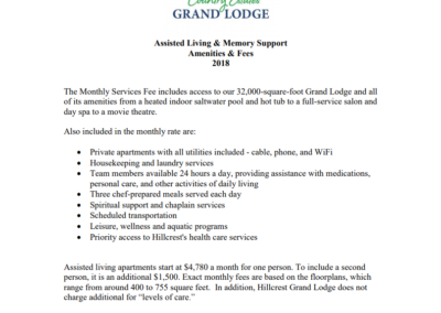 Assisted Living & Memory Support Amenities & Fees